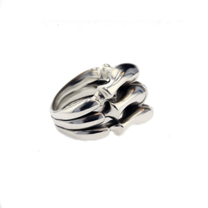 DG Triple Layer Spine Ring Silver