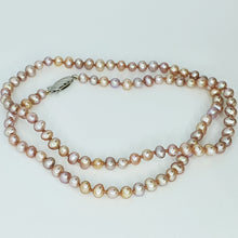 Load image into Gallery viewer, Pinky-Peach Med Pearl Knotted Necklace