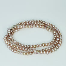 Load image into Gallery viewer, Pinky-Peach Sml Pearl Knotted Necklace