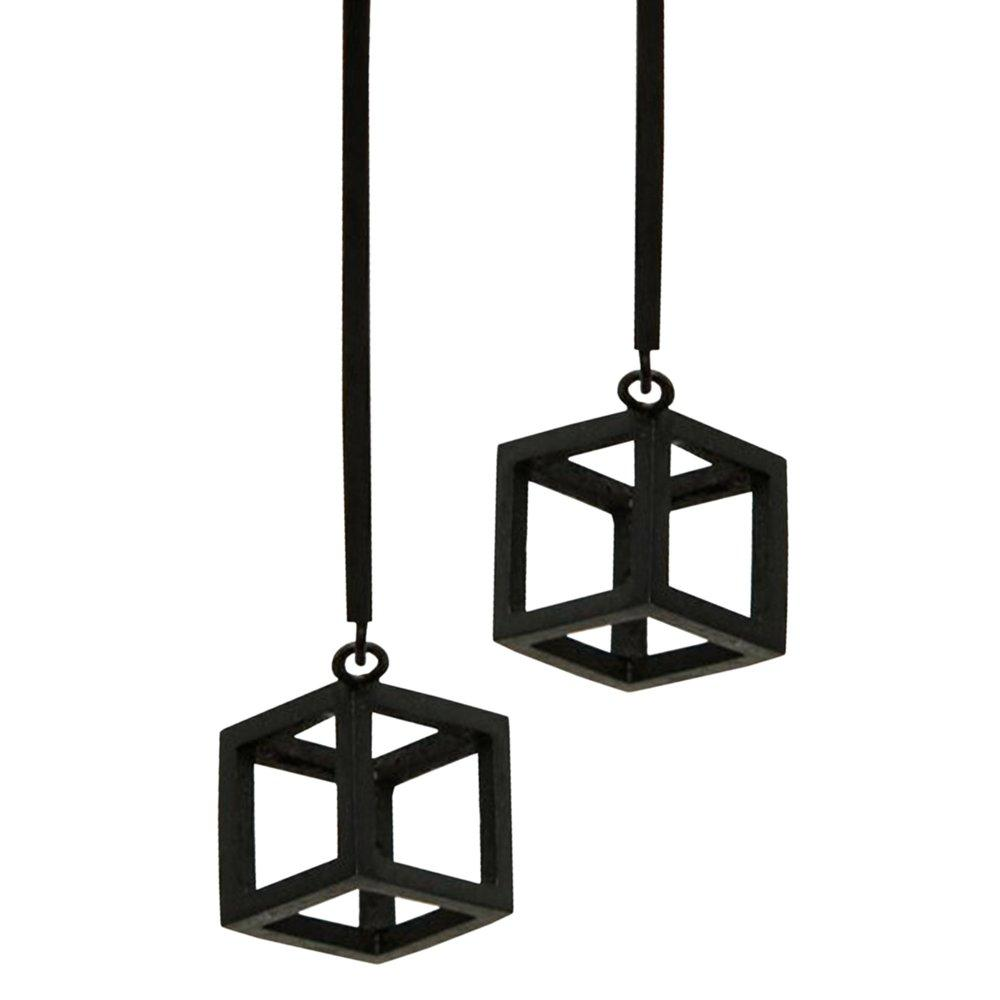 Cube & Bar Drop Earrings