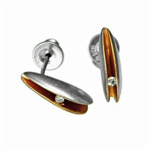 PF Trap Sml Silver Shell Earrings with 2pt Diamonds