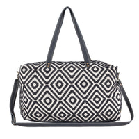 Rug Diamond Black Cowhide Leather Duffel Bag