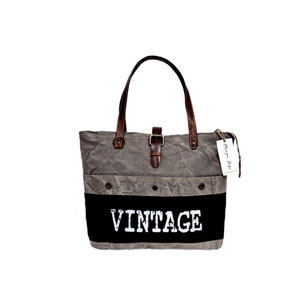 White Vintage Print On Black  Canvas Tote Up-cycled Bag