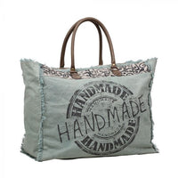 Myra Bag Handmade Canvas Leather Weekender Tote  Bag