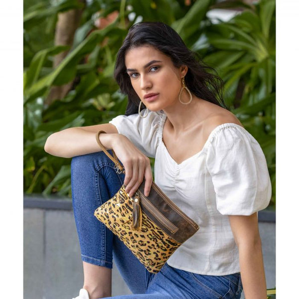 Dynamite Tassel Leopard Gold Flick Cowhide Leather wristlet clutch pouch