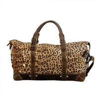 Vibrant Leopard Gold Flick Leather Cowhide Duffel Bag