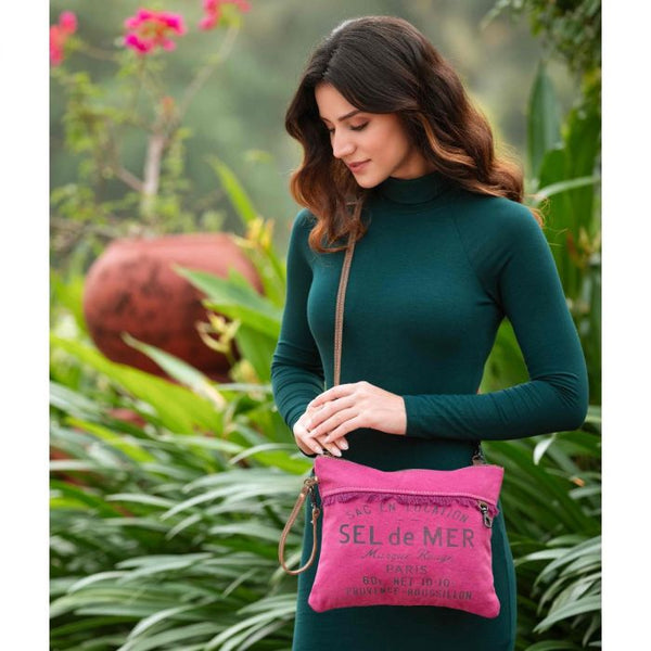 Fuchsia Spring Canvas Leather Small Crossbody Myra Bag