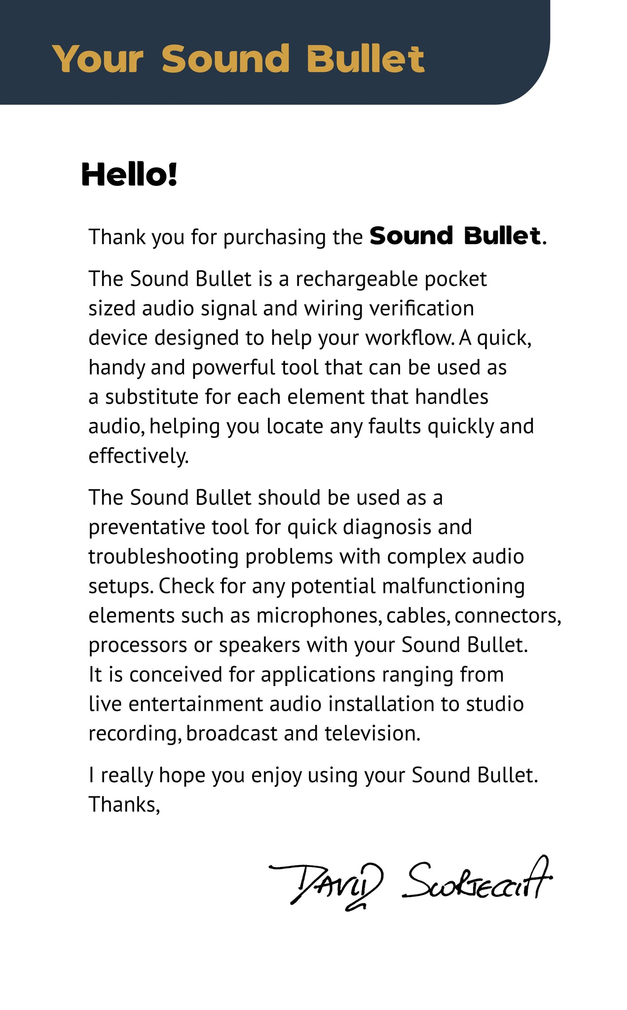 Sound Bullet User Manual - Page 2
