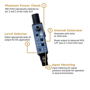 Sound Bullet Phantom Power Check, Internal Generator, Level Selector, Input Metering