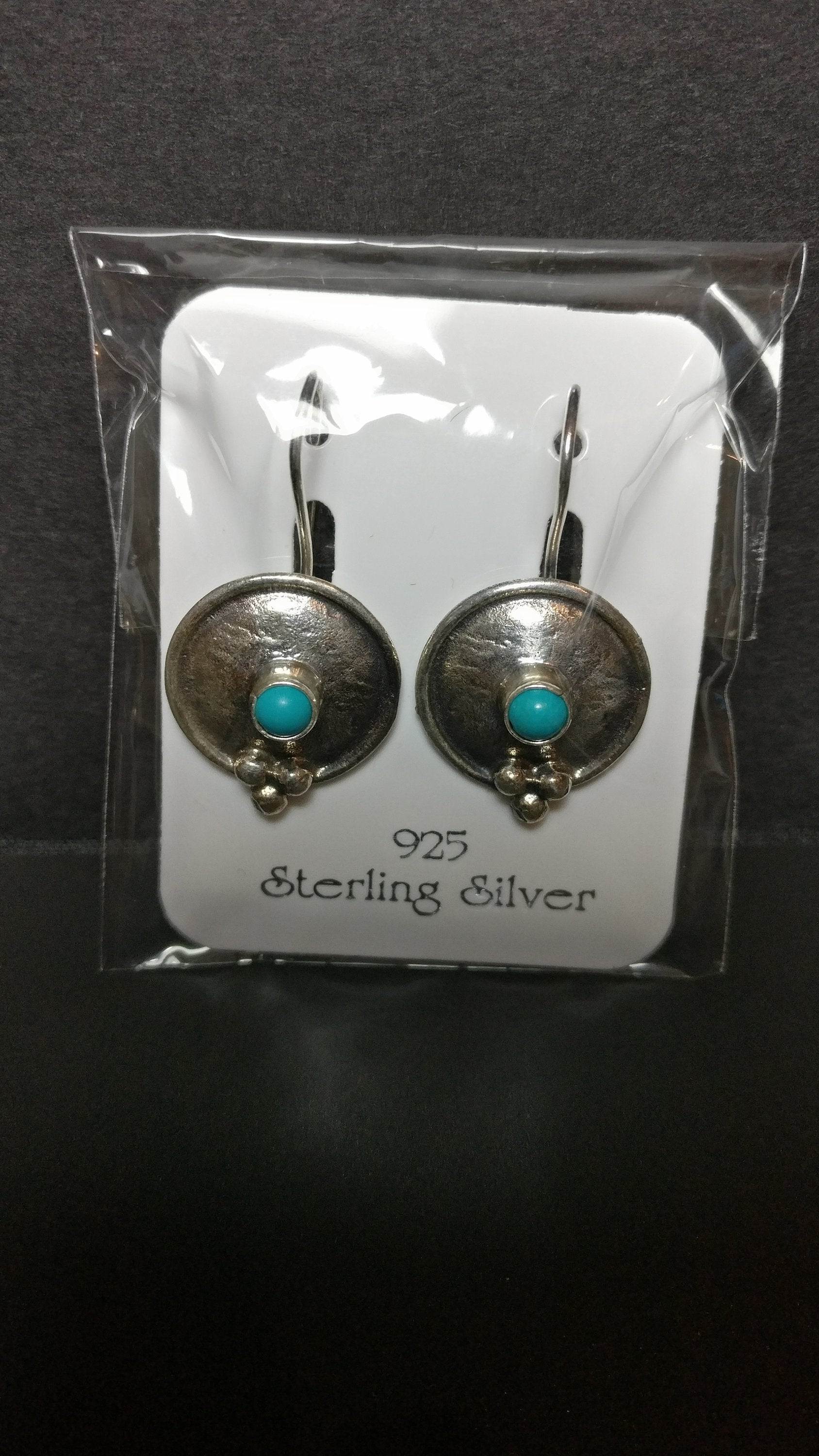 Genuine Turquoise 925 Sterling Silver Design Earrings Gemstone Gift, Firuze, Turkuaz, Genuine Gemstone Earrings 483
