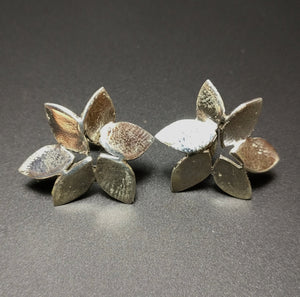 3D Leaf Shaped Stud Earring, Turkish Jewellery, 925 Sterling Silver Leaves Autumn Design Nature Gift