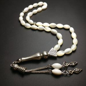 Mother of Pearl Worry Beads Genuine Gemstone Prayer Beads Sedef Tesbih Tasbih Tespih Misbaha Subha Komboloi 588