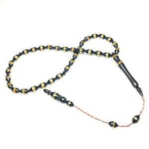 Brass Inlaid Coca Wood Prayer Beads Kokka Tasbih Pirinc Islemeli Kuka Tesbih 390
