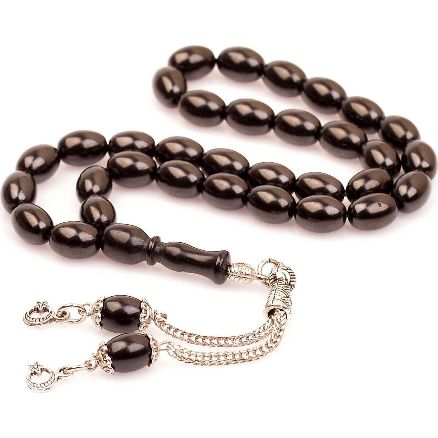Jet Natural Worry Beads, Healing Prayer Beads, Jet Tasbih, Gurcu Oltu Tesbih Jetstone Misbaha Turkish 042