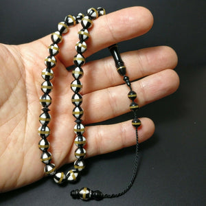 Brass Enamel Inlaid Kokka Prayer Beads Pirinc Mine Isleme Kuka Tesbih Tasbih 717