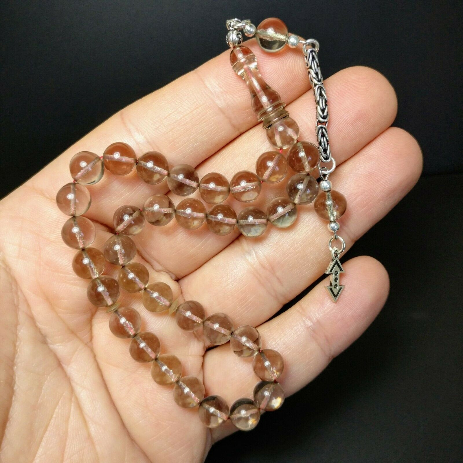 Turkish Clear Prayer Beads Tasbih Bilek SIKMA Kehribar Tesbih Misbaha Subha  747