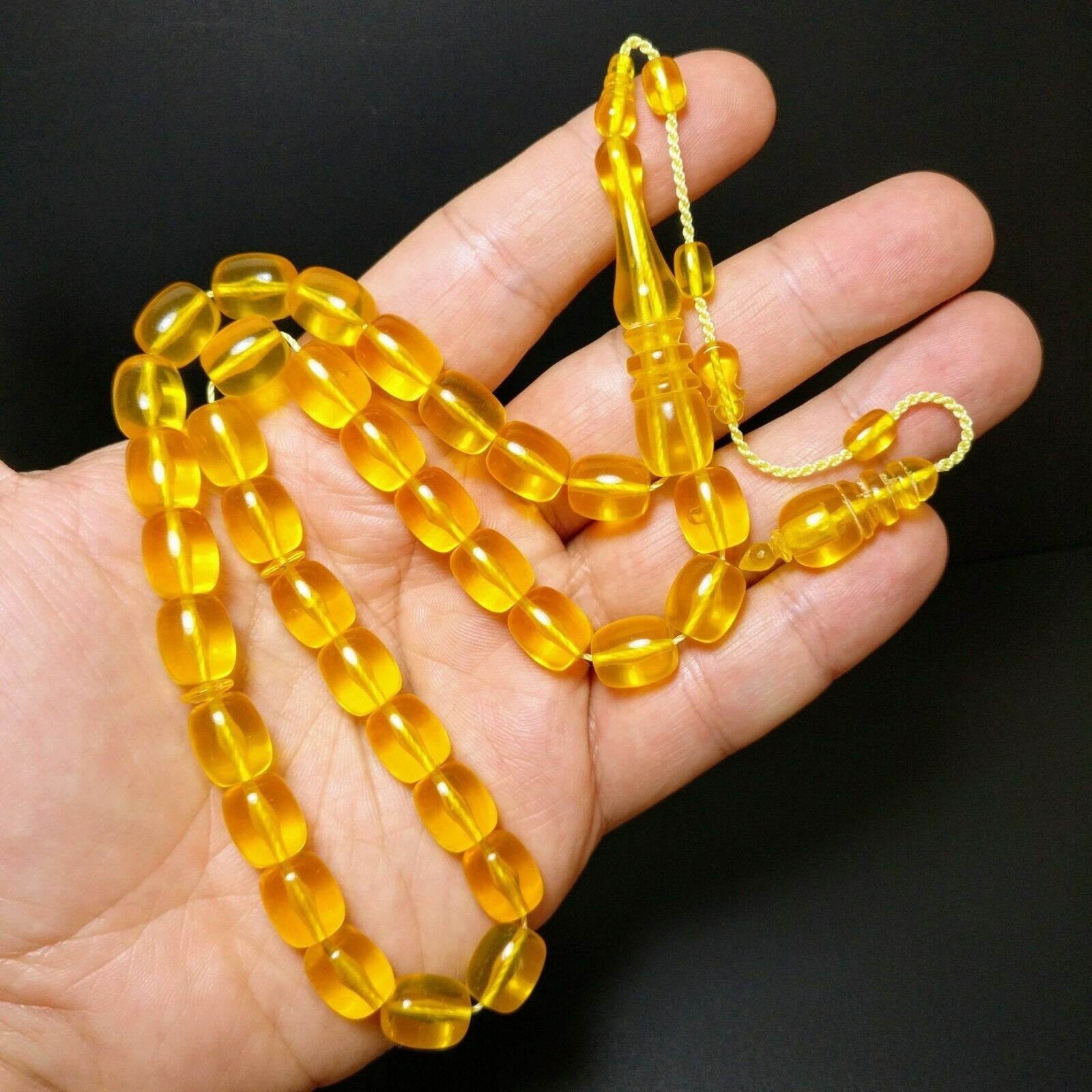 New Stylish Big Yellow Prayer Beads Tesbih Muslim Rosary Islam Tasbih Tasbeeh Turkish Misbaha Subha 320