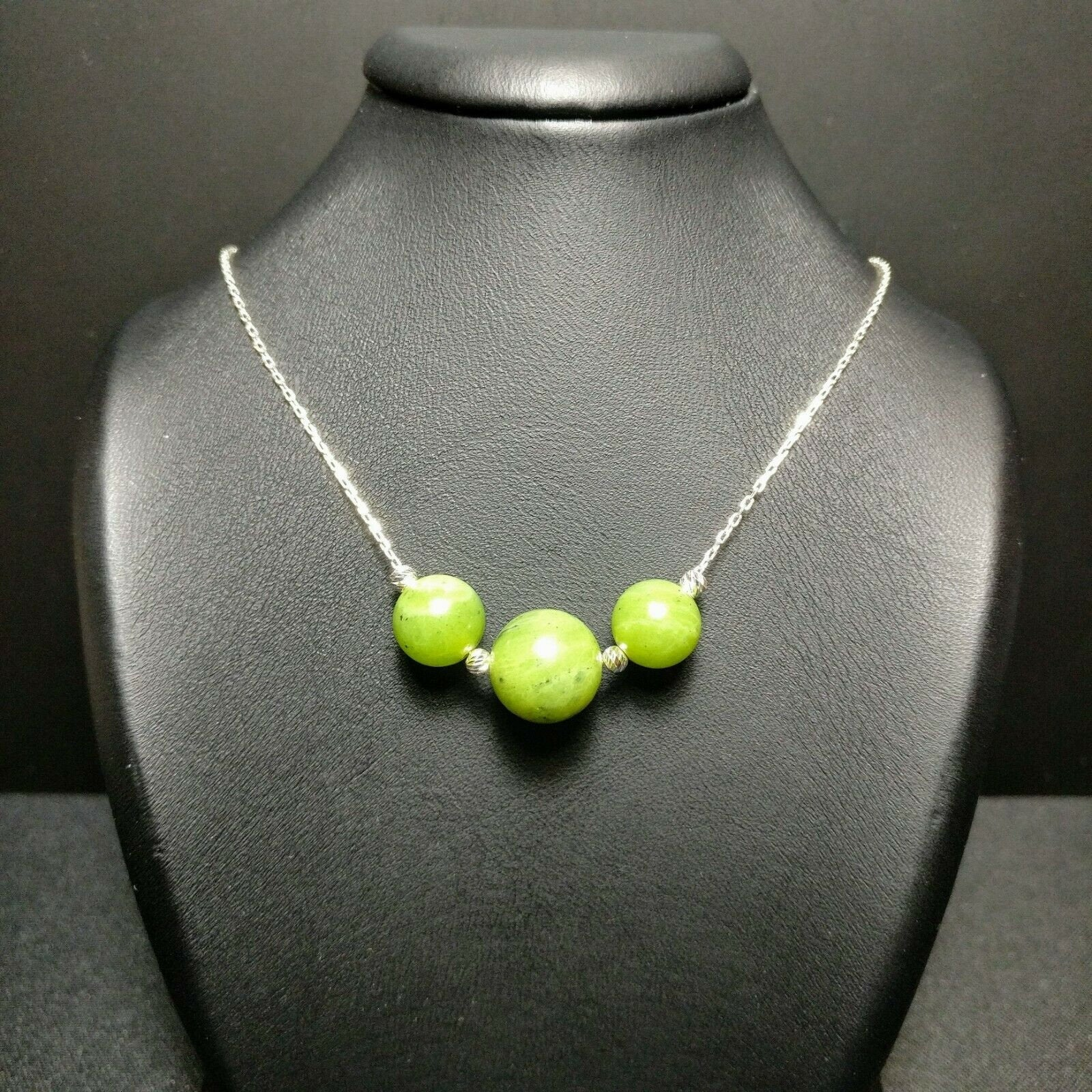Empowering Jade Gemstone 925 Sterling Silver Necklace Gift for her Green, healing gemstones 066