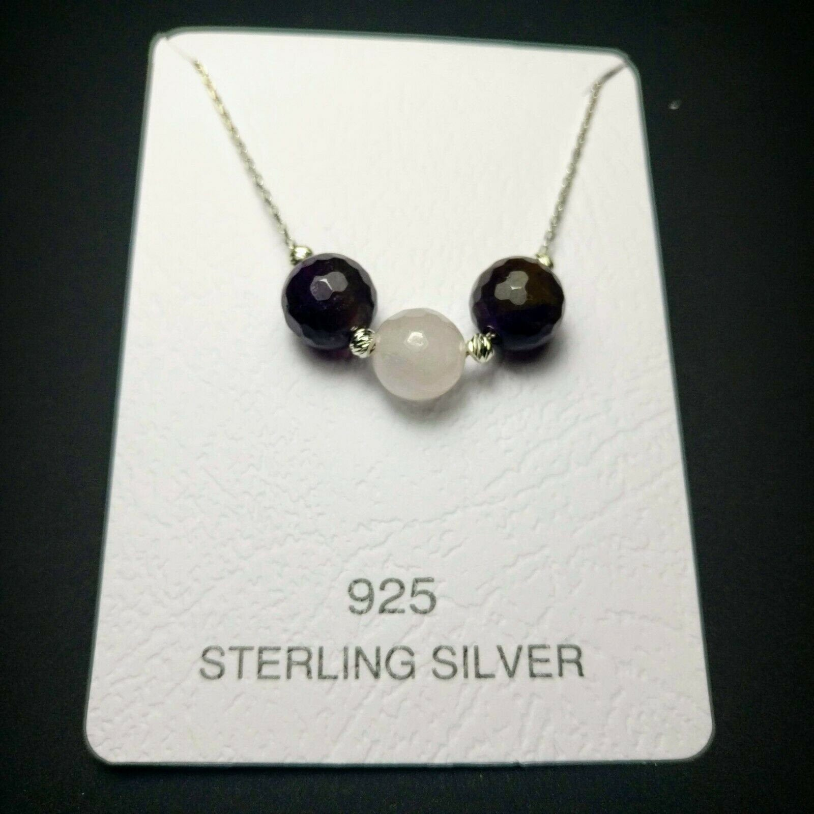 Empowering Amethyst Rose Quartz Gemstone 925 Sterling Silver Necklace Christmas Gift, healing gemstones 005