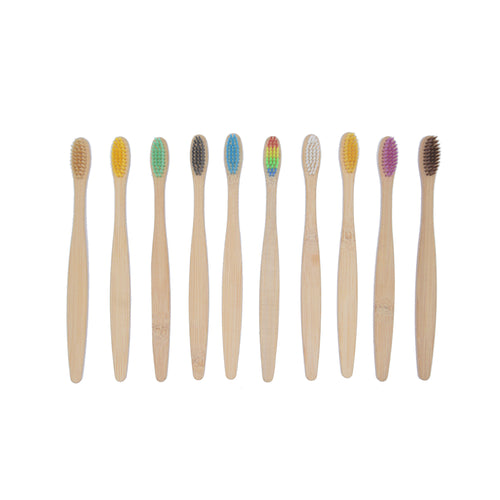 Pack of Adult Bamboo Toothbrushes (Set of 10)