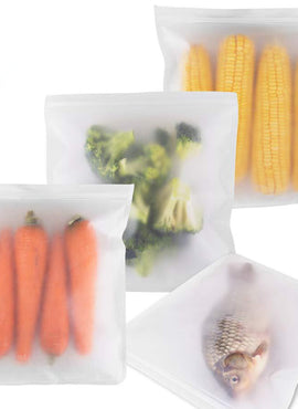 Reusable Food Storage Zip Bags (Pack of 4)