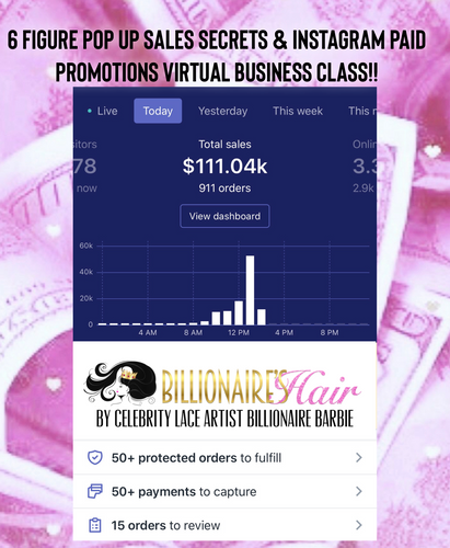 6 FIGURE POP UP SALES SECRETS & INSTAGRAM PAID PROMOTIONS VIRTUAL BUSINESS CLASS!!