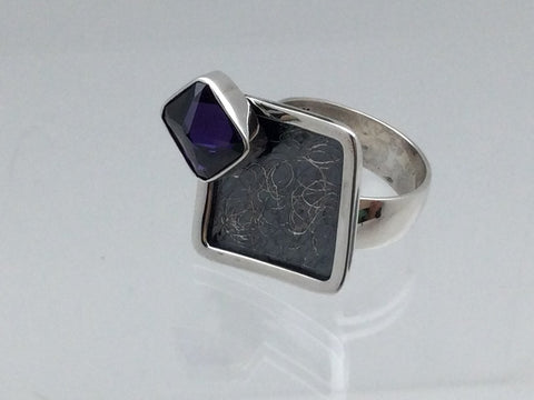 Amethyst Stone Square Ring