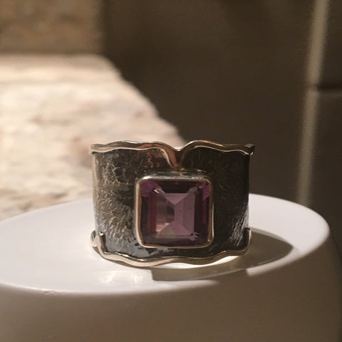 Amethyst Rectangle Oxidized with Silver Band