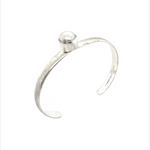Brushed with Pearl Open Circle Cuff