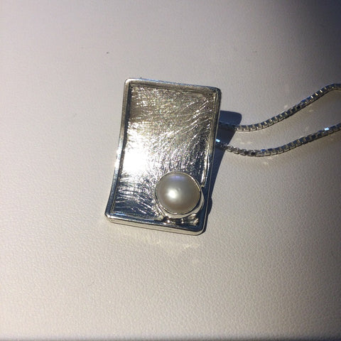 Brushed Sterling Silver Rectangle with Pearl Pendant