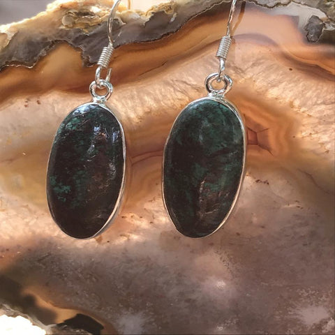 Chrysoprase Oval Earrings