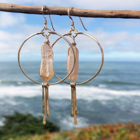 Desert Quartz Crystal Earrings on Gold-Filled Circle Hoops