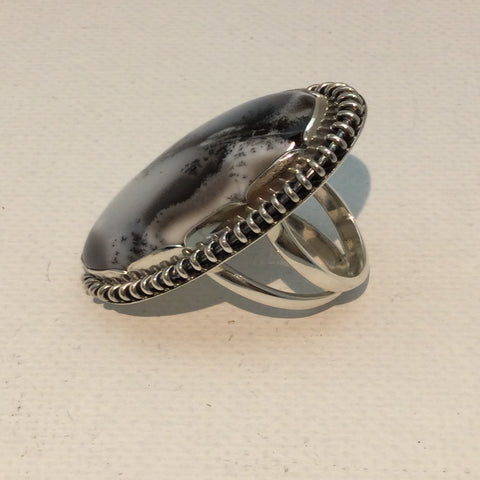 Dendritic Opal Oval Solid Sterling Ring