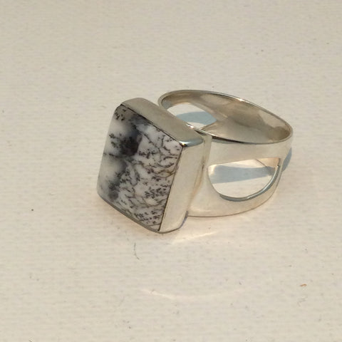 Dendritic Opal Square in Solid Sterling Ring