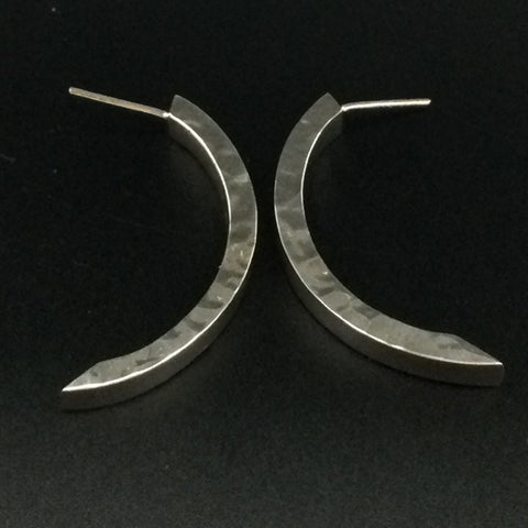 Hammered Arch Hoop Small Earrings