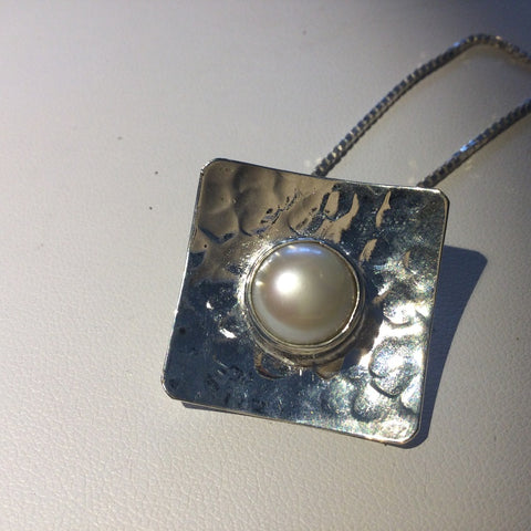 Hammered Sterling Silver Fresh Water Pearl Square Pendant