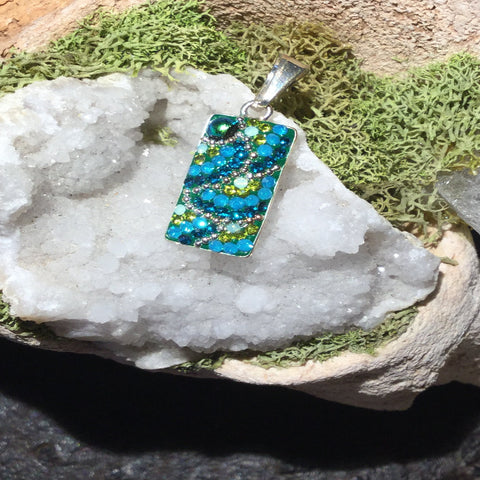 Green Small Rectangle Mosaic Pendant