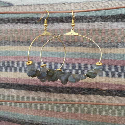 Labradorite Cluster Gemstone Hoop Earrings