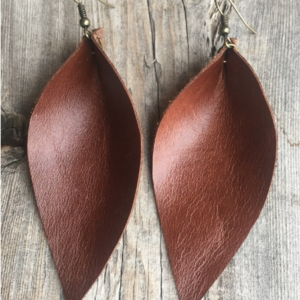 "Large Dark Brown ""Leaf"" Earrings"