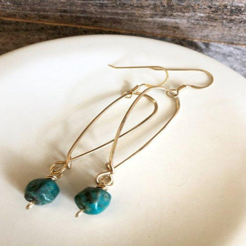 Long Inverted Teardrop Hoops with Green Turquoise Bangle - 14k Gold Earrings