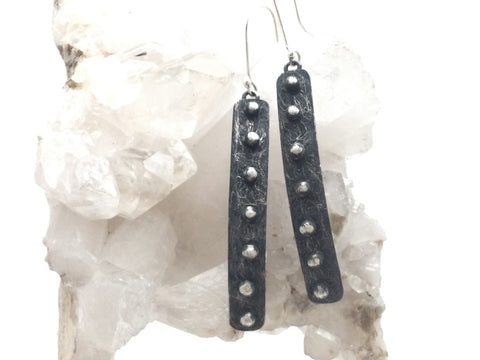 Studded Oxidized Bar Earrings