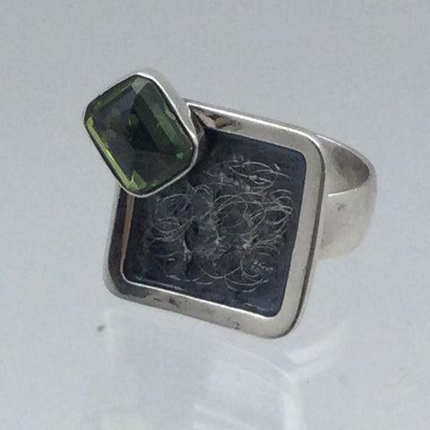 Peridot Stone Square Ring