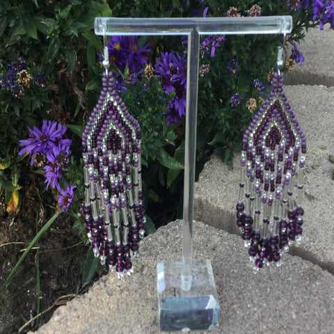 Purple and Silver Beaded Dangle Earrings