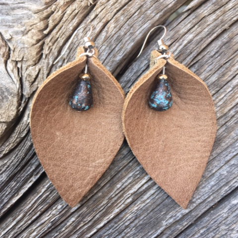 "Light Tan ""Leaf"" Earrings with Teal Beads Earrings"
