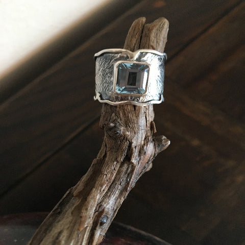 Topaz Rectangle Oxidized with Silver Band