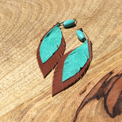 Turquoise and Camel Layered Earrings