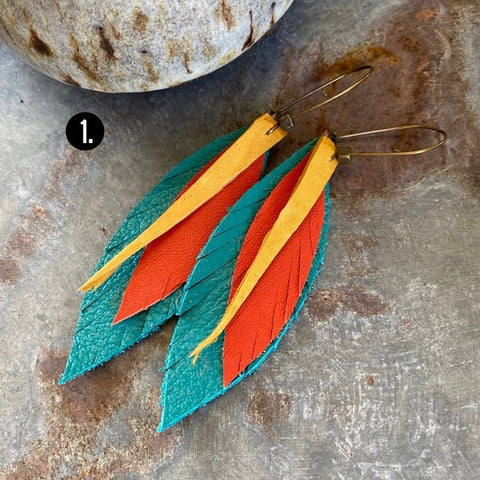 Turquoise, Orange, Yellow 3 layer leaf