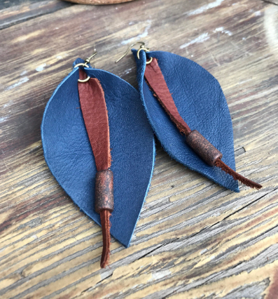 Navy Blue Leather Suede Teardrop