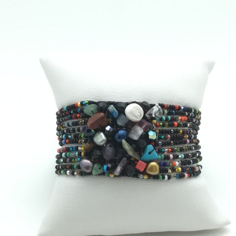 beaded gem multi & black