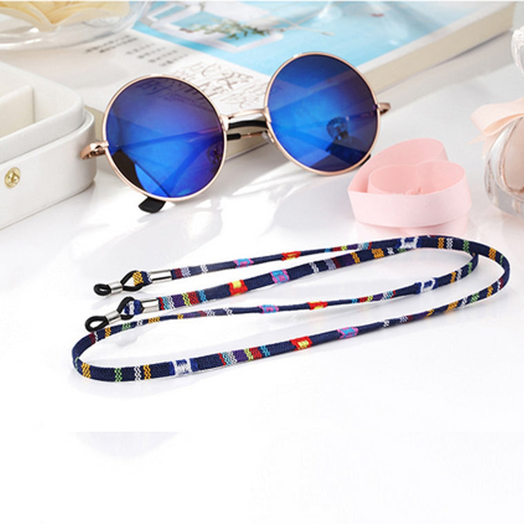 Multicolored Striped Cotton Sunglasses String Chain